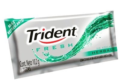 TRIDENT FRESH HERBAL SIN AZUCAR X10.2GR / 6PIE