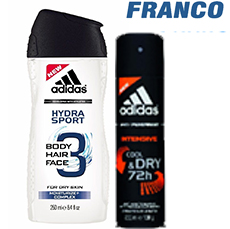ADIDAS HYDRA SPORT SHOWER GELX250 + DEO AER INTENSIVEX150ML